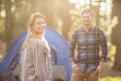 Happy young camper couple smiling Stock Images