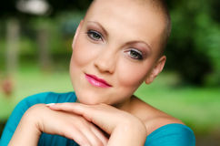 Happy and young cancer survivor after successful chemotherapy Royalty Free Stock Photography