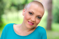 Happy young cancer survivor after successful chemotherapy Royalty Free Stock Photos