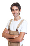 Happy young carpenter Royalty Free Stock Image