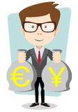 Of a happy young cartoon businessman with bag full Stock Photography