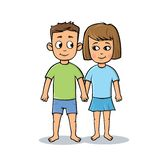 Happy young cartoon couple holding hands. Student couple. Flat vector illustration. Isolated on white background. vector illustration