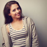 Happy young casual woman with smile. Closeup vintage portrait Stock Photos