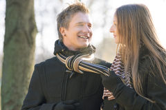 Happy young caucasian couple walking Stock Images