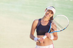 Happy Young Caucasian Female Tennis Player Stock Photo