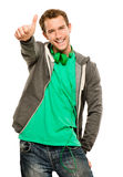 Happy young caucasian man giving thumbs up sign white background Royalty Free Stock Images