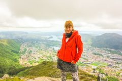 Bergen hiker woman royalty free stock photography