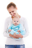 Happy young Caucasian woman and her baby son Royalty Free Stock Images