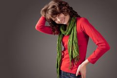 Happy Young Caucasian Woman with Long Green Scarf Portrait. Over Stock Photo