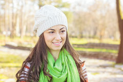 Happy Young Caucasian Woman Portrait Outdoor Stock Photos