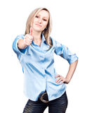 Happy young caucasian woman standing isolated on w Stock Photo