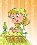 Happy young girl cooking. Smiling cute young girl rolling out dough with olive oil and eggs. Digital illustration Stock Image