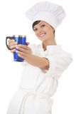 Happy young chef woman with big blue cup Royalty Free Stock Image