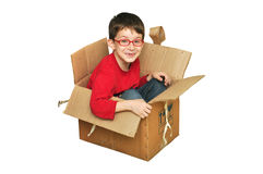 Happy young children in box Royalty Free Stock Image