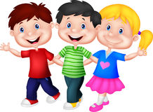 Happy young children cartoon Royalty Free Stock Images