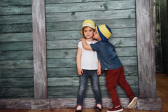 Happy young children siblings. Stock Images