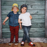 Happy young children siblings. Stock Photo