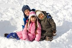 Happy Young Children On Snow Stock Photography