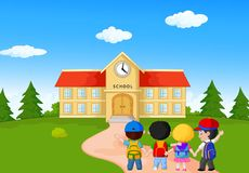 Happy Young Children Walking Together To School Stock Photo