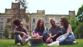 Happy young college fiends sitting on lawn in front of university. stock footage