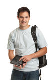 Happy Young College Student Holding Tablet Stock Photo
