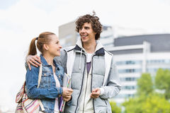 Happy young college students at campus Royalty Free Stock Photography