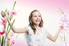 Happy young communion girl. Stock Photos