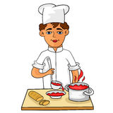 Happy young cook pours hot soup in a bowl. Cartoon, vector Stock Images