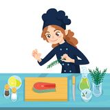 Happy young cook preparing salmon steaks on chopping board. Colorful vector illustration of girl cooking fish in cartoon style on a white background. Different Stock Image