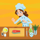 Happy young cook preparing salmon steaks on chopping board. Colorful vector illustration of girl cooking fish in cartoon style on orange background. Different Stock Image