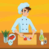 Happy young cook slicing tomato on chopping board. Colorful vector illustration of boy cooking vegetable in cartoon style on orange background. Different Stock Images