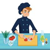 Happy young cook slicing tomato on chopping board. Colorful vector illustration of boy cooking vegetable in cartoon style on a white background. Different Royalty Free Stock Photos