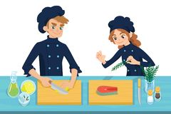 Happy young cooks. Boy slicing lemon and girl preparing salmon steak on chopping board. Colorful vector illustration in cartoon style on a white background Stock Images