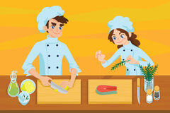 Happy young cooks. Boy slicing lemon and girl preparing salmon steak on chopping board. Colorful vector illustration in cartoon style on orange background Royalty Free Stock Photos