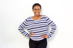 Happy young cool black girl in striped shirt Stock Images
