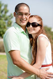 Happy young couple. Portrait of happy young couple, outdoor stock photos