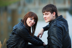 Happy young fashion couple in love outdoor Stock Image