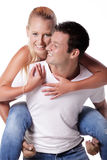 Happy young couple. Isolated over white background Stock Photography