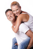 Happy young couple. Isolated over white background Royalty Free Stock Photo