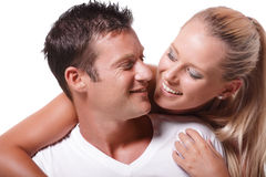 Happy young couple. Isolated over white background Royalty Free Stock Images