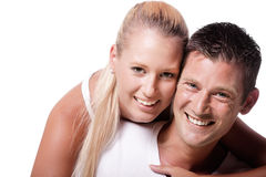 Happy young couple. Isolated over white background Royalty Free Stock Image