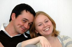 Happy young couple. Head shot of happy young couple Stock Image