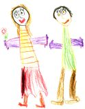 Happy young couple. Child draw Stock Image