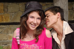 Happy young couple. Portrait of happy young couple in casual clothes royalty free stock photos