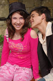 Happy young couple. Happy young teenage couple in casual clothes stock image