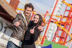 Couple at Amusement Park. Happy Young Couple at Amusement Park in Wien Royalty Free Stock Image