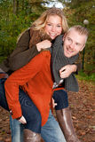 Happy young couple in the autumn Stock Photos