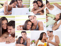 Happy young couple in bed. Enjoying together Royalty Free Stock Photo