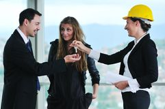 Happy young couple buying new home Royalty Free Stock Image