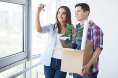 Happy young couple buying real estate.  royalty free stock photography